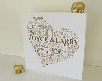 Unique Gifts 50th Wedding Anniversary : wedding anniversary gift personalised word art 50th anniversary gift ...
