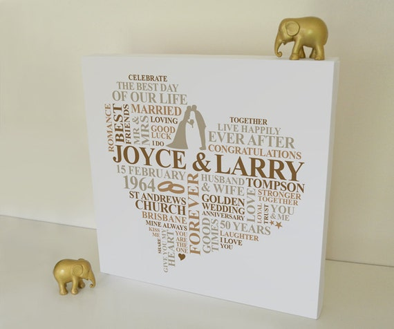 canvas golden wedding anniversary gift personalised word art. Black Bedroom Furniture Sets. Home Design Ideas