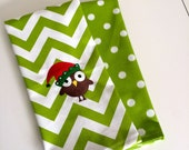 Hostess Gift Decorative Towels Set of 2 Christmas Owl Green Chevron