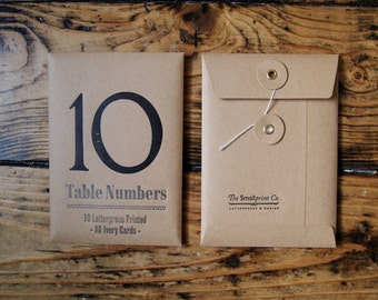 Wedding Table Numbers - Ten - Letterpress - Additional numbers available