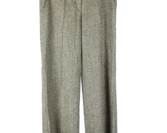 Vintage Tweed Trousers, Wide Leg, Wool, Silk, Cotton