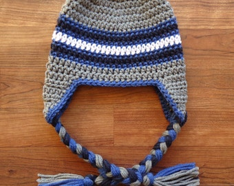 Crocheted Baby Boy Ear Flap Hat with Braided Ties ~ Pewter Gray, Colonial Blue, Navy Blue & White ~ Newborn to 5T - MADE to ORDER