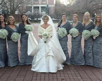 Bridal Capelet  Dark Gray Wedding Shawl Gray Shrug Gray Knit Capelet