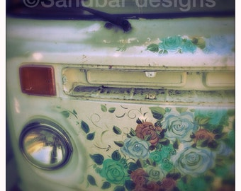 4 x 4 photo card-Rose VW bus