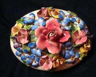Capodimonte Florial Oval powder jar Lid