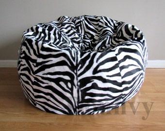 """Zebra Bean Bag for Kids, Teens. Faux Fur Bean Bags. Bean Bag Cover size 30"""",35"""",40"""""""