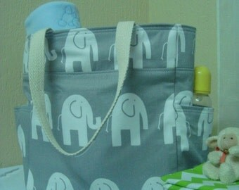 Classic Diaper Bag baby boys// Elephant fabric