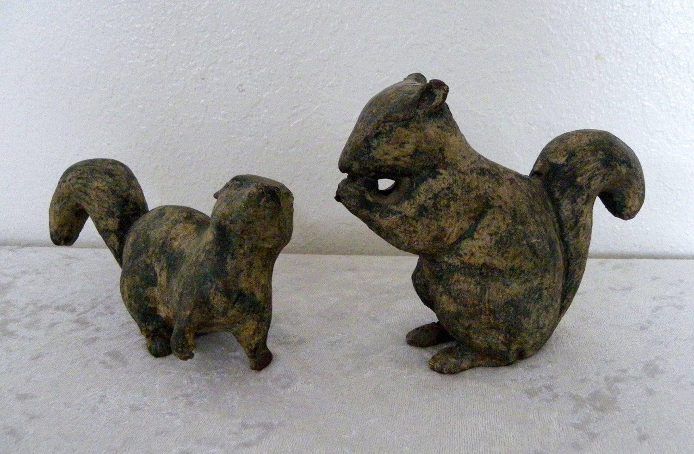 2 vintage cast metal iron squirrel figurines figurals by hemified - Cast iron squirrel door stop ...