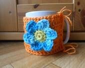 Crochet mug holder - Orange and blue coffee cup cozy - Flower tea mug sleeve