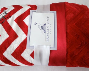 Red and White Chevron with Solid Red Embossed Minky and Red Satin Trim - Baby Shower, Boy or Girl, Crib Bedding