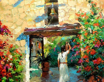 "Mexican girl with jug - Original Contemporary oil  painting by Dmitry Spiros. Size: 24""x32"""