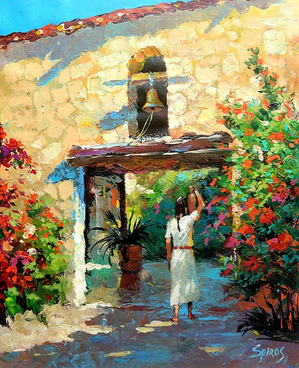 Mexican girl with jug original contemporary oil painting by for Contemporary oil paintings