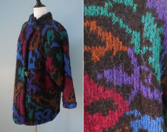 Vintage 80s SWEATER COAT sweater jacket FUZZY knit oversize shaggy sweater womens large