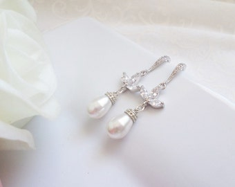 Cubic Zirconia And Swarovski Pearl Bridal Earrings Swarovski Pearl Bridal Drop Earrings CZ Bridal Earrings Bridal Jewelry FREE US Shipping