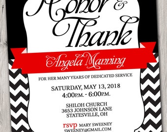 PASTOR APPRECIATION Invitation Red and Black or Pick any Color Accent - 5x7 - Printable