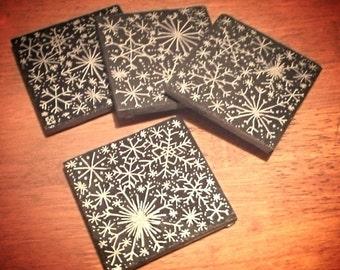 Silver Snowflake Slate Coasters - Set of 4