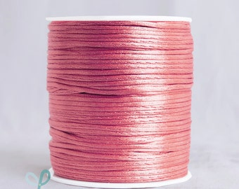 2mm x 100 yards Rattail Satin Nylon Trim Cord Chinese Knot - CORAL
