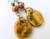 BACK2SCHOOL SUPER SALE!  Asia-inspired Copper Lampwork and Ceramic Earrings