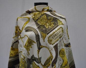 Vintage HERMES - ETRIERS silk scarf ....(788)