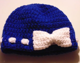 Blue Beanie Hat with White Bow Girls Fall/Winter Hat