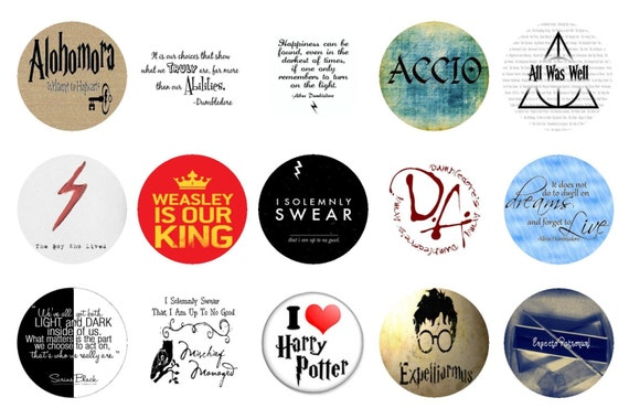 HARRY POTTER 1 Inch Circle Collage Sheet Digital Instant