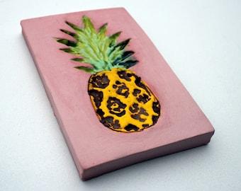 Pineapple tile, pineapple art, ceramic tile ornament, ceramic pineapple, pineapple tile, ornament, wall decor.