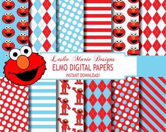 Elmo Sesame Street, Digital Scrapbook Paper, Printable Scrapbook Paper, Sesame Street Elmo, Scrapbook Paper