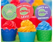 Teenage Mutant Ninja Turtle Cupcake Wrappers and Cupcake Toppers; TMNT Party; Ninja Turtle Birthday Party