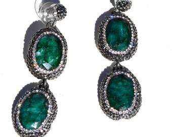 Malachite Swarovski Earrings