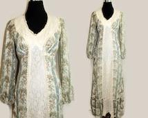 Bohemian Wedding Dress / Vintage 70s Victorian Lace Hippie Wedding Dress / Alternative Festival Dress /1970s Hippie Prairie Dress S