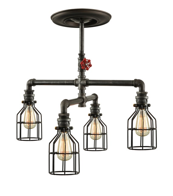 steampunk industrial ceiling light industrial pipe light. Black Bedroom Furniture Sets. Home Design Ideas