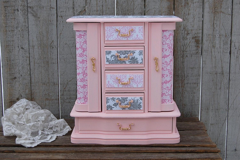 Jewelry Box Jewelry Armoire Shabby Chic Pink Grey Damask