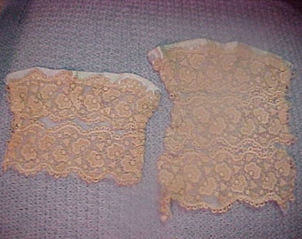 """Antique Ecru lace, two pieces, mounted on silk background.  6x7"""" and  6 3/4x4"""""""