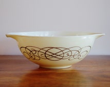 Pyrex Golden Scroll Bowl, Promotional Ivory Cream Gold No. 444 Cinderella Bowl, 4 Quart Mixing Bowl, Vintage Kitchen