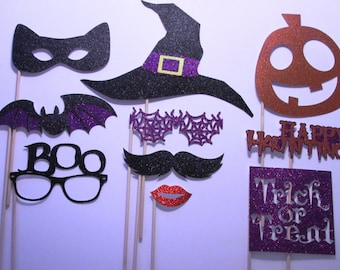 Halloween Photo Booth Props!! Made with Glitter Paper- 10 piece! Ready to Ship - in time for Halloween!!