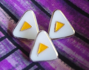 Vintage Glass Buttons Mid Century, Abstract Art,  Eames Era 1960s Sixties Glass Triangle Buttons