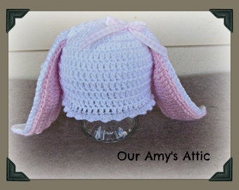Bunny hat, bunny ear beanie for baby, Cottontail Hat. Easter Hat