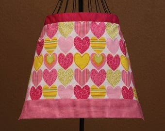 Valentines Day Adult Apron with  Hearts and Pink Ribbon