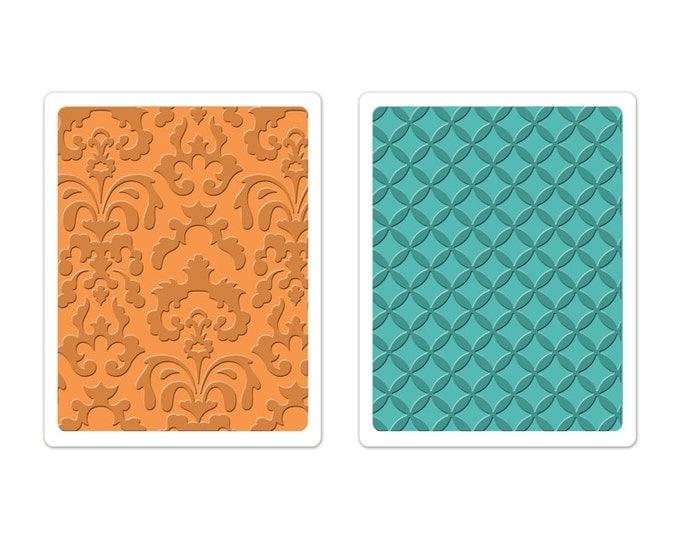 New! Brenda Walton Sizzix Textured Impressions Embossing Folders 2PK - Chateau Damask & Veranda Set 659626