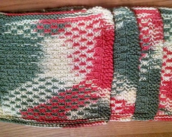 4 pack -Hand knitted, cotton dish cloths.