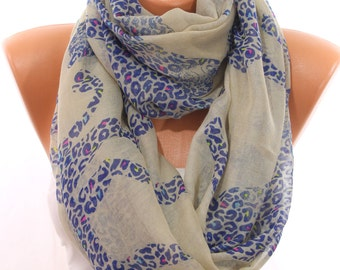 Leopard Print Beige Blue Scarf So Soft Lightweight Infinity Scarf Wraps Fall Fashion Women Fashion Accessories Scarves Gift Ideas For Her