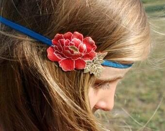 Headband hair flower red Peony