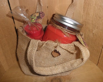 MAINE APPLE ORCHARD scented Burlap Gift Bag Set