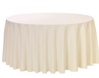YCC Linen - 120 Inch Round Polyester Tablecloth Ivory | Wedding Tablecloths