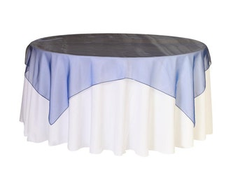 90 inch Square Organza Table Overlay Navy Blue   Wedding Table Overlays