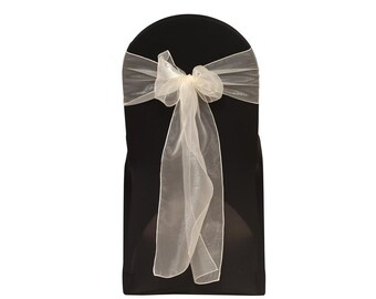 YCC Linen - Ivory Organza Chair Sashes (Pack of 10) | Wedding Chair Sashes