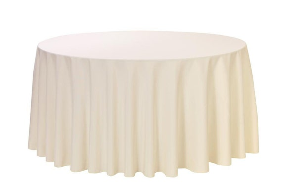 120 inch round polyester tablecloth ivory wedding for 120 table cloth
