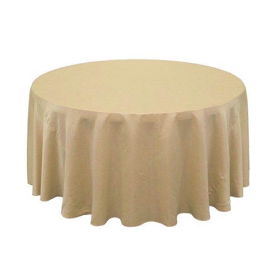 120 inch round lamour tablecloth champagne by yourchaircovers for 120 table cloth