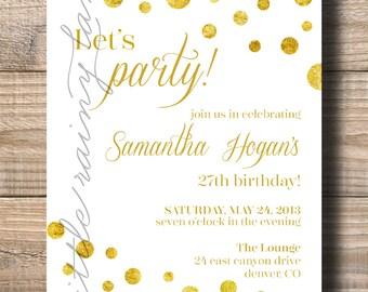 Gold Polka Dot Invitation