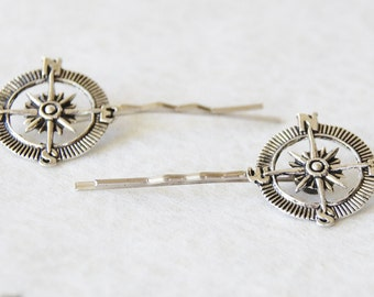 Compass Hair Clips * Victorian Compass Hair Accessories * Oxidized Silver Vintage Compass Bobby Pinss * Compass Jewelry * Nautical Hair